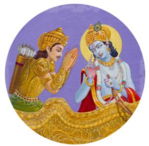 Krishna's onderricht aan zijn toegewijde leerling midden op het slagveld.
